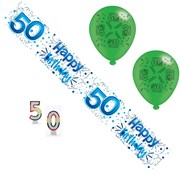 Age 50 Male Birthday Party Pack - 50th Banner, Balloons, Number Candles