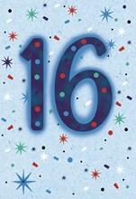"""Age 16 Boy Birthday Card - Blue Foil 16 with Confetti & Stars 7.75"""" x 5.25"""""""