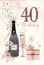 """Age 40 Female Birthday Card - Champagne cake & Gift with Gold Foil 7.75""""x5.25"""""""
