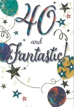 """Age 40 Male Birthday Card - Bronze Numbers & Multicoloured Text 7.75"""" x 5.25"""""""