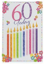 """Age 60th Female Birthday Card 60 Today Multicoloured Candles Glitter 7.75x5.25"""""""