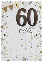 """Age 60 Male Birthday Card - Gold Foil 60 And Stars 7.75"""" x 5.25"""""""