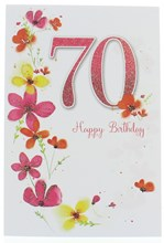 """Age 70 Female Birthday Card -70th Birthday Flowers & Pink Glitter 70 7.75x5.25"""""""