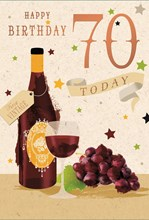 """Age 70 Male Birthday Card 70th Birthday Red Wine Grapes Foil Writing 7.75x5.25"""""""