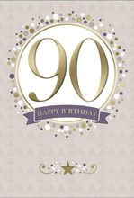 """Age 90 Male Birthday Card - 90th Big Gold Foil Number in Circle 7.75"""" x 5.25"""""""
