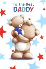 "Daddy Birthday Card - Brown Bears, Blue Envelope & Big Red Stars 7.75"" x 5.25"""