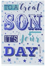 """Son Birthday Card - Blue & Green Writing with Blue Stars and Foil  7.75 x 5.25"""""""