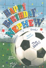 """Nephew Birthday Card - Football In Net With Bright Coloured Stars 7.75"""" x 5.25"""""""