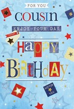 """Cousin Birthday Card Blue Multicoloured Writing Stars and Gold Foil 7.75x5.25"""""""