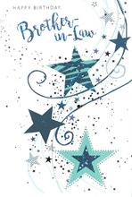 """Brother-in-Law Birthday Card - Blue Stars and Swirls with Silver Foil 7.75x5.25"""""""