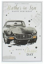 """Brother-in-Law Birthday Card -Black Classic Car & Stars With Gold Foil 7.5x5.25"""""""