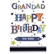 "Grandad Birthday Card - Blue Green and Orange with Foiled Blue Stars 7.5""x5.25"""