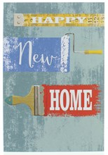 "New Home Greetings Card - Writing With Paint Brush & Tape Measure  7.75"" x 5.25"""