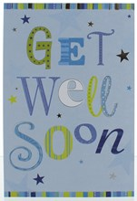 Get Well Soon Greetings Card - Blue and Green with Silver Foil 7.75x5.25""