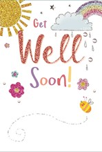 "Get Well Soon Greetings Card - Sunshine, Rainbow, Blossoms & Bee 7.75"" x 5.25"""