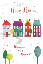 """New Home Greetings Card - Multicoloured Houses & Stars With Foil 7.75x5.25"""""""
