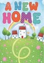 "New Home Greetings Card - Houses Glitter Rainbow & Flowers 7.75 x 5.25"""