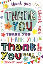 """Thank You Greetings Card - Bright Text, Sunshine, Bunting & Stars 7.75"""" x 5.25"""""""