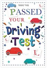 """Passed Your Driving Test Greetings Card - Cars L Plates Stars & Foil 7.75""""x5.25"""""""