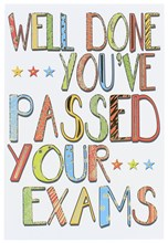 """Passed Your Exams Greetings Card - Bright Text Stars & Gold Foil 7.75"""" x 5.25"""""""