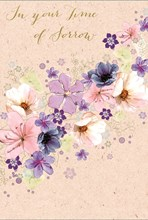 """With Sympathy Greetings Card - Big Pink, Lilac & Navy Blue Flowers 7.75"""" x 5.25"""""""