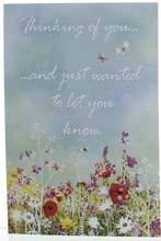"Thinking of You Card - Wild Flowers and Butterflies 7.75"" x 5.25"""
