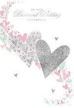 "Diamond 60th Wedding Anniversary Card - Pink & Silver Foil Heart 7.75"" x 5.25"""