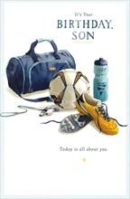 "Son Birthday Card - Blue Sports Bag, Football, Bottle & Orange Boots 9"" x 5.75"""