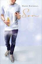 """Son Birthday Card - Young Man Holding Beer Bottle & Big Mobile Phone 9"""" x 5.75"""""""