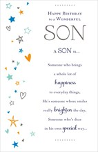 "Son Birthday Card - Silver Text, Blue Stars, Triangles & Red Hearts 9"" x 5.75"""