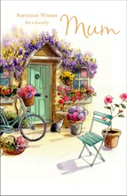 "Mum Birthday Card - Green Door, Bicycle, Tabby Cat & Bright Flowers 9"" x 5.75"""