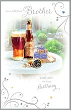 "Brother Birthday Card - Beer Bottle, Pint Glass, Presents & Garden 9"" x 5.75"""