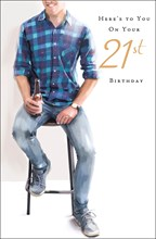 """Age 21 Male Birthday Card - Young Man, Beer Bottle & Black Bar Stool 9"""" x 5.75"""""""