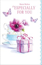 "Open Female Birthday Card - Pink Flowers, Teacups, Gift & Butterflies 9"" x 5.75"""