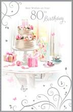 "Age 80 Female Birthday Card - White Cake, Presents, Roses & Teacups 9"" x 5.75"""