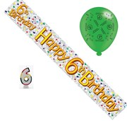 Age 6 Boy Birthday Party Pack - 6th Banner, Balloons, Number Candle