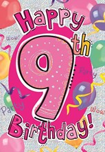 """Age 9 Girl Birthday Card - Bright Pink Number, Balloons & Streamers 7.5"""" x 5.25"""""""