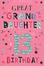 "Great Grand-daughter 13th Birthday Card - Big 13 Hearts Stars & Foil  9"" x 6"""