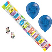 Age 65 Unisex Birthday Party Pack - 65th Banner, Balloons, Number Candles
