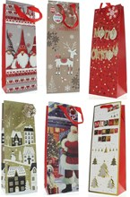 Set of 6 Christmas Wine Bottle Gift Bags with Tags - Mixed Christmas Design