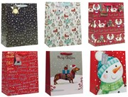 Set of 6 Large Christmas Gift Bags with Ribbon Handle & Tag Mixed Designs - B