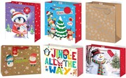 """Set of 6 Large Christmas Gift Bags with Handle & Tag - Mixed Designs C 13x10"""""""