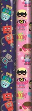 6m Children's Gift Wrapping Paper Roll - 2 x 3m - Blue Robots & Pink Superhero