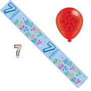 Age 7 Unisex Birthday Party Pack - 7th Banner, Balloons, Number Candle