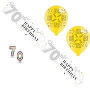 Age 70 Unisex Birthday Party Pack - 70th Banner, Balloons, Number Candles