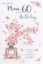 "ICG Mum 60th Birthday Card - Pink Text, Perfume Bottle & Lilac Flowers 9"" x 6"""