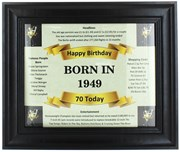 2020 70 Today Happy Birthday Print & Black Photo Frame - 1950 Was A Special Year