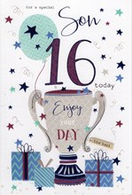 """Son 16th Birthday Card - Silver Trophy with Balloon Stars and Blue Foil 9"""" x 6"""""""