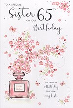 ICG Sister 65th Birthday Card Pink Perfume Flowers Butterflies Silver Foil 9x6""