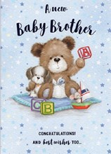 "ICG New Baby Brother Greetings Card - Teddy Bear, Dog & ABC Blocks 6.75"" x 4.75"""